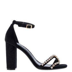 Sandro Lea Black Velvet Rhinestone Sandal Shoe NEW